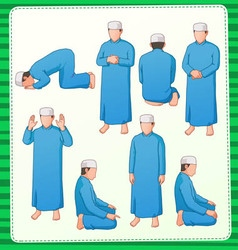 muslim praying postion vector image
