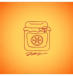 Orange jam doodle on color background vector image vector image