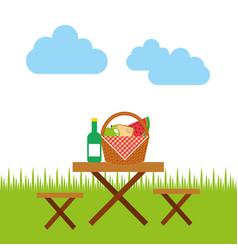 picnic party scene icon vector image