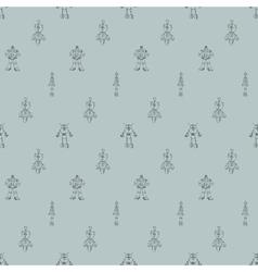 Robot doodles pattern vector image