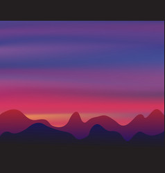 silhouette mountain on sunset background twilight vector image