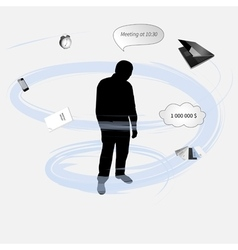 Silhouette of a man under stress vector