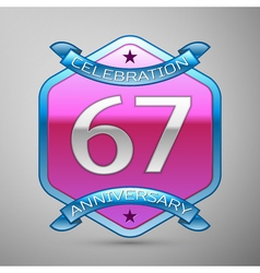 Sixty seven years anniversary celebration silver vector