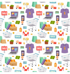 Supermarket web shop cartoon seamless vector