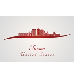 Tucson V2 skyline in red vector image