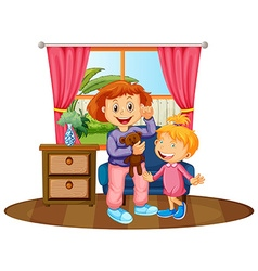 Two kids in the house vector