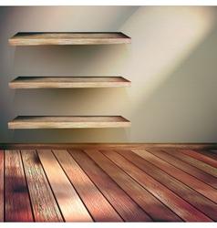 Wooden shelves background EPS 10 vector image vector image