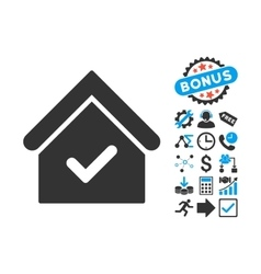 Valid house flat icon with bonus vector