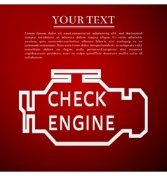 Check engine flat icon on red background vector