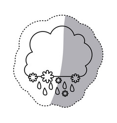 monochrome contour sticker with cumulus of clouds vector image