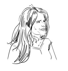 portrait of delicate good-looking flirting woman vector image