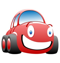 Cheerful race car vector
