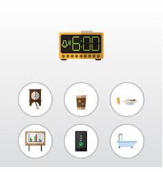 Flat icon oneday set of cappuccino clock vector