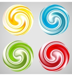 Set of milk yogurt cream curl or lollipop vector