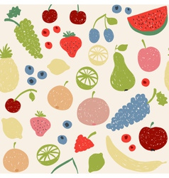 Doodle fruits seamless pattern in retro colors vector
