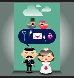 An of cute wedding icons vector