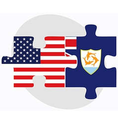 Usa and anguilla flags in puzzle vector