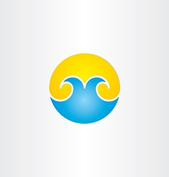 Water waves with sun summer icon vector