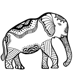 Hand drawn indian elephant vector