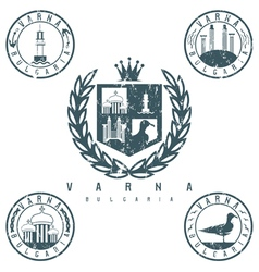 Grunge coat of arms and emblems with landmarks of vector