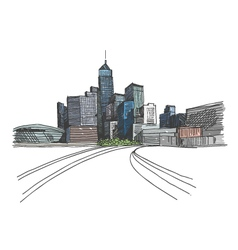 Hong kong city hand drawn vector