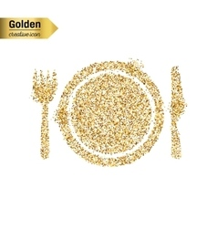 Gold glitter icon of plate with knife and vector