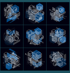 Abstract 3d shapes compositions isometric vector
