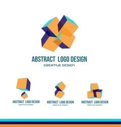 Abstract cube logo icon design vector image