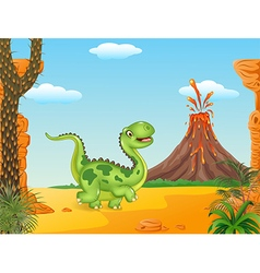 Cartoon funny walking dinosaur vector