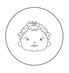 cavechild face icon in outline style isolated on vector image vector image