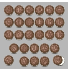 Chocolate cookies font Artistic sweet alphabet vector image