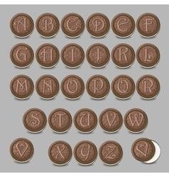 Chocolate cookies font artistic sweet alphabet vector