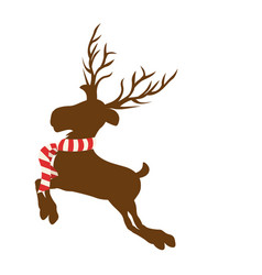 color background with reindeer jumping with big vector image