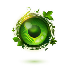 eco friendly technology symbol with open eye vector image vector image