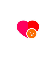 ecommerce cart in a heart logo vector image