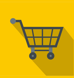 Empty supermarket cart icon flat style vector