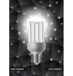 Energy saving bulb with triangle background vector
