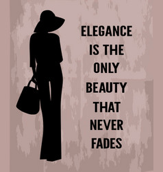 Fashion woman with quote about elegance vector