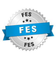 Fes round silver badge with blue ribbon vector