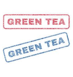 Green tea textile stamps vector