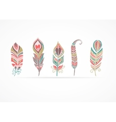 Hand drawn bohemian tribal ethnic feathers vector