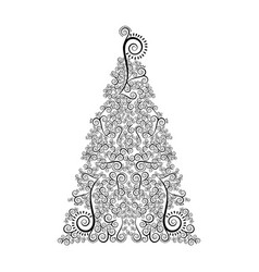 Monochrome silhouette with christmas floral tree vector