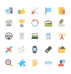 Multimedia flat colored icons 6 vector