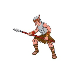 Orc warrior thrusting spear cartoon vector