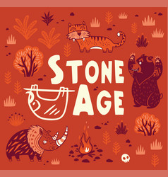 Prehistoric stone age print in cartoon vector