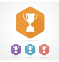 Prize trophy cup flat icon long shadow vector