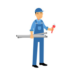 proffesional plumber character in a blue overall vector image