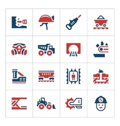 Set color icons of mining vector image