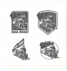 set of templates with a locomotive vintage train vector image vector image