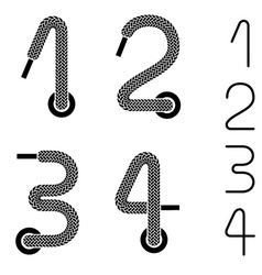 Shoe lace numbers 1 2 3 4 vector